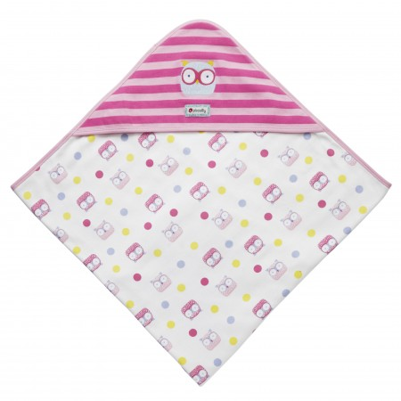 Piccalilly Pink Owl Hooded Blanket