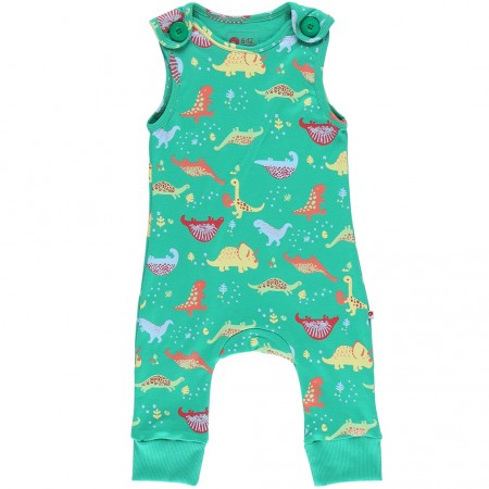 Piccalilly Green Dinosaur Dungarees