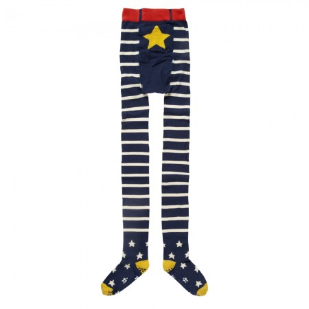 Piccalilly Blue & White Stripe Star Tights