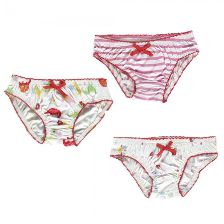 Piccalilly Stripe/Floral/Dinosaur Knickers x3