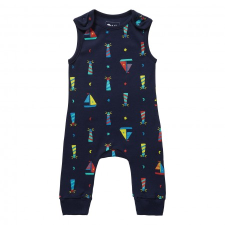 Piccalilly Lighthouse Print Dungarees
