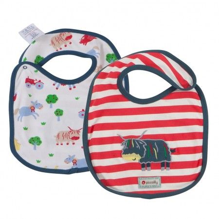 Piccalilly Reversible Bib - Highland Cow / Barrel Sykes Farmyard