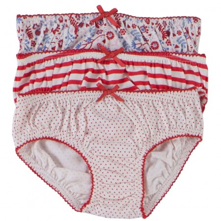 Piccalilly Stripe, Ditsy and Spot Knickers x 3