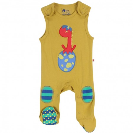 Piccalilly Dinosaur Footed Dungarees