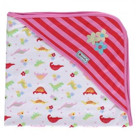 Piccalilly Floral Dinosaur Hooded Blanket