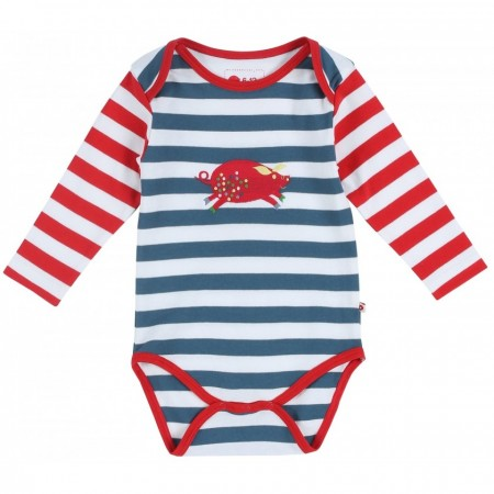 Piccalilly Pig Stripe L/S Bodysuit