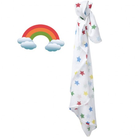 Piccalilly Big Rainbow Star Print Muslin