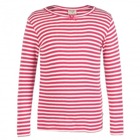 Frugi Mia Pointelle Raspberry Stripe Kids Top