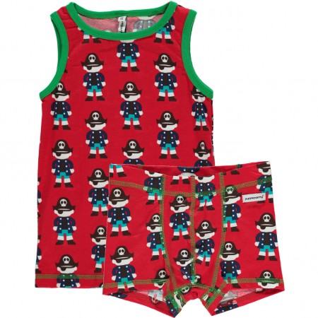 Maxomorra Red Pirate Boxers & Vest Set