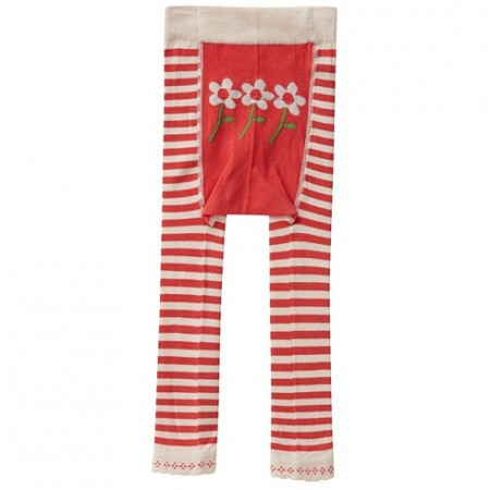 Piccalilly Footless Tights Red Stripe