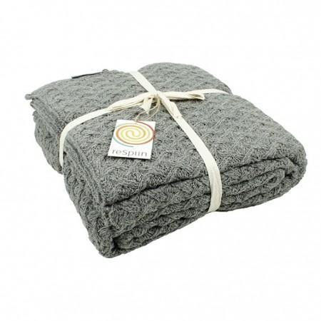 ReSpiin Mid Grey Knitted Wool Throw