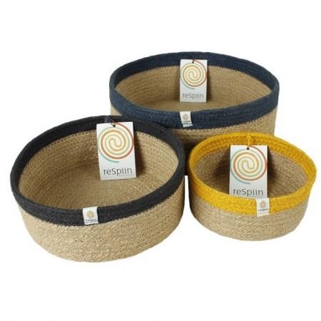 ReSpiin Jute Shallow Basket Set
