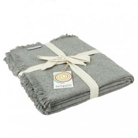 ReSpiin Light Grey Plain Wool Throw With Fringe