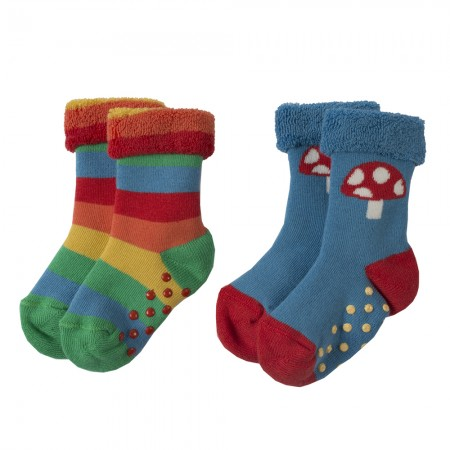 Frugi Rainbow Grippy Socks x2