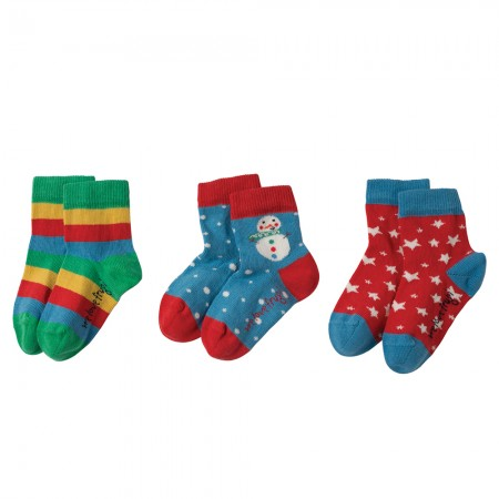 Frugi Snowman Little Socks 3-Pack
