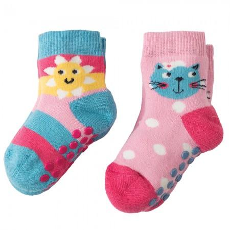 Frugi Kitty Grippy Socks x2