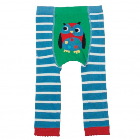 Frugi Blue Owl Knitted Leggings