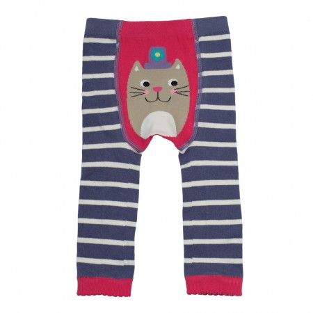 Frugi Violet Cat Knitted Leggings