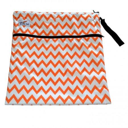 Tickle Tots Wet Bags-Orange Chevron