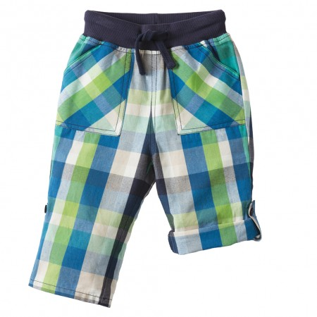 Frugi Green & Blue Check Roll-Up Trousers