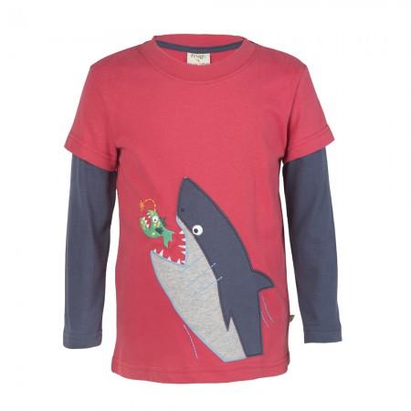 Frugi Shark Snappy Applique Top