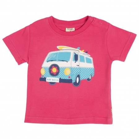 Frugi Baby Cornish Printed T-shirt - Raspberry/Camper