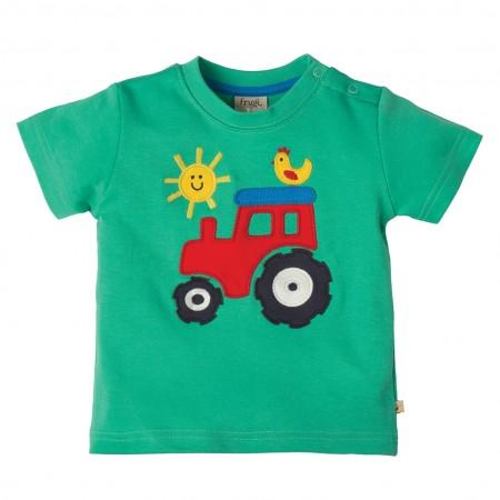 Frugi Tractor Little Wheels Applique T-shirt
