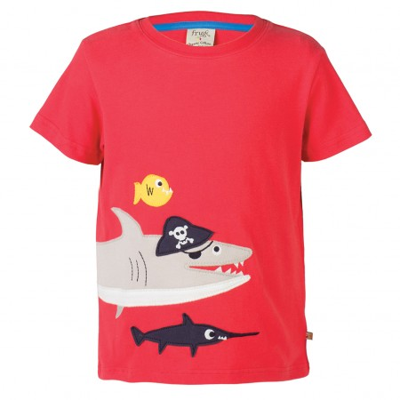 Frugi Shark James Applique T-Shirt