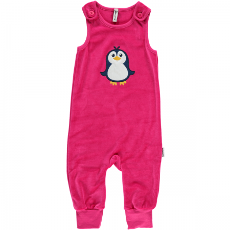 Maxomorra Pink Embroidered Penguin Dungarees