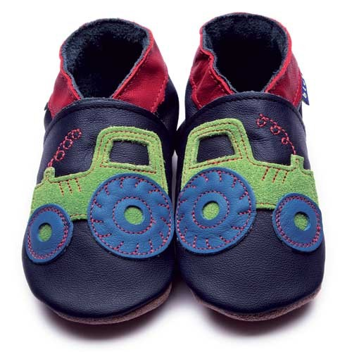 Inch Blue Leather Baby Shoes Navy Tractor