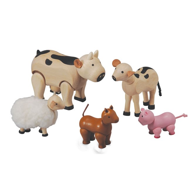 Plan Toys Farm Animals Set 7135 Wooden Farm Animals