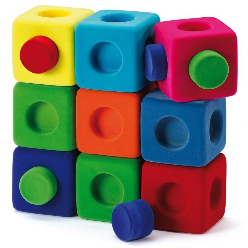 Rubbabu Rubbablox Rubber Building Blocks X9 Wooden Play