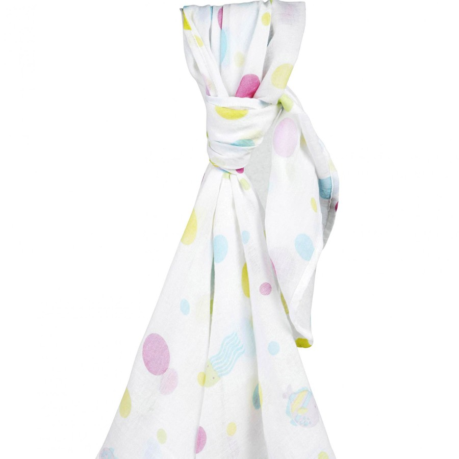Piccalilly Organic Cotton Octopus Muslin Swaddle Pink Sealife