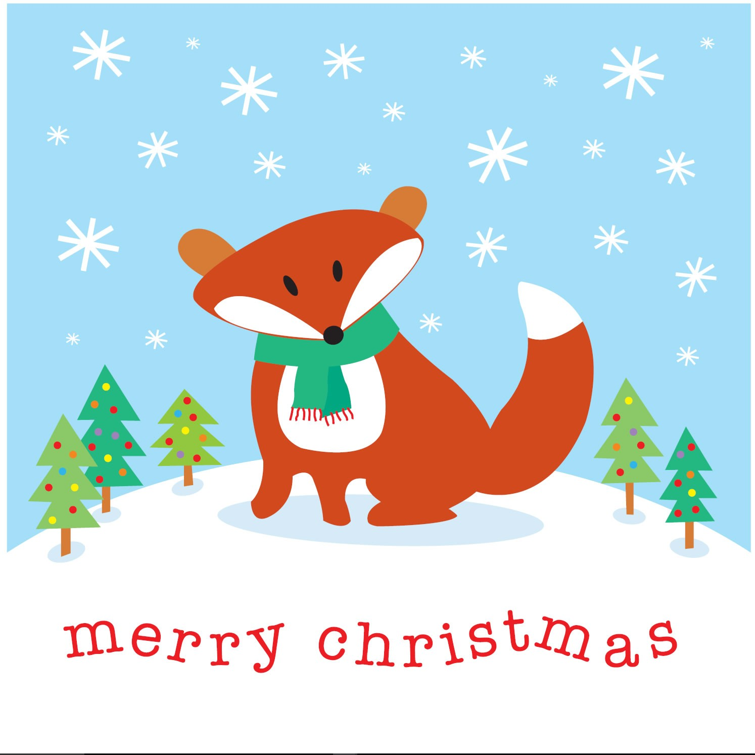 Merry Christmas Card.Babipur Fox Merry Christmas Card