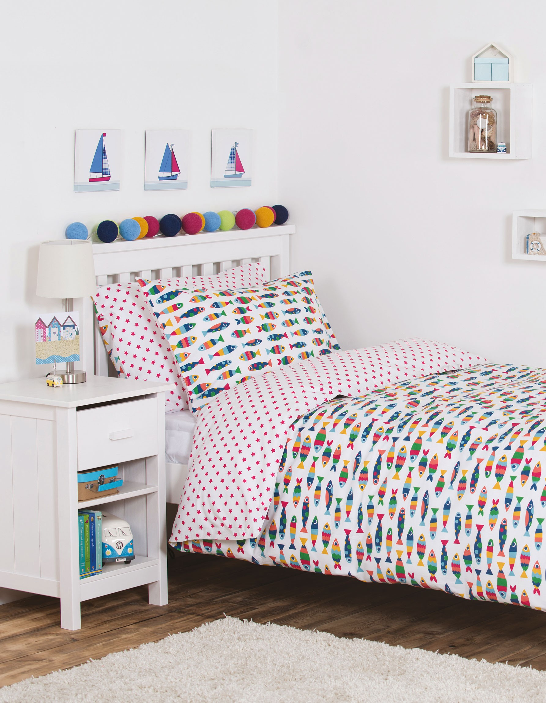 Frugi rainbow fish cot bed set for Fish crib bedding