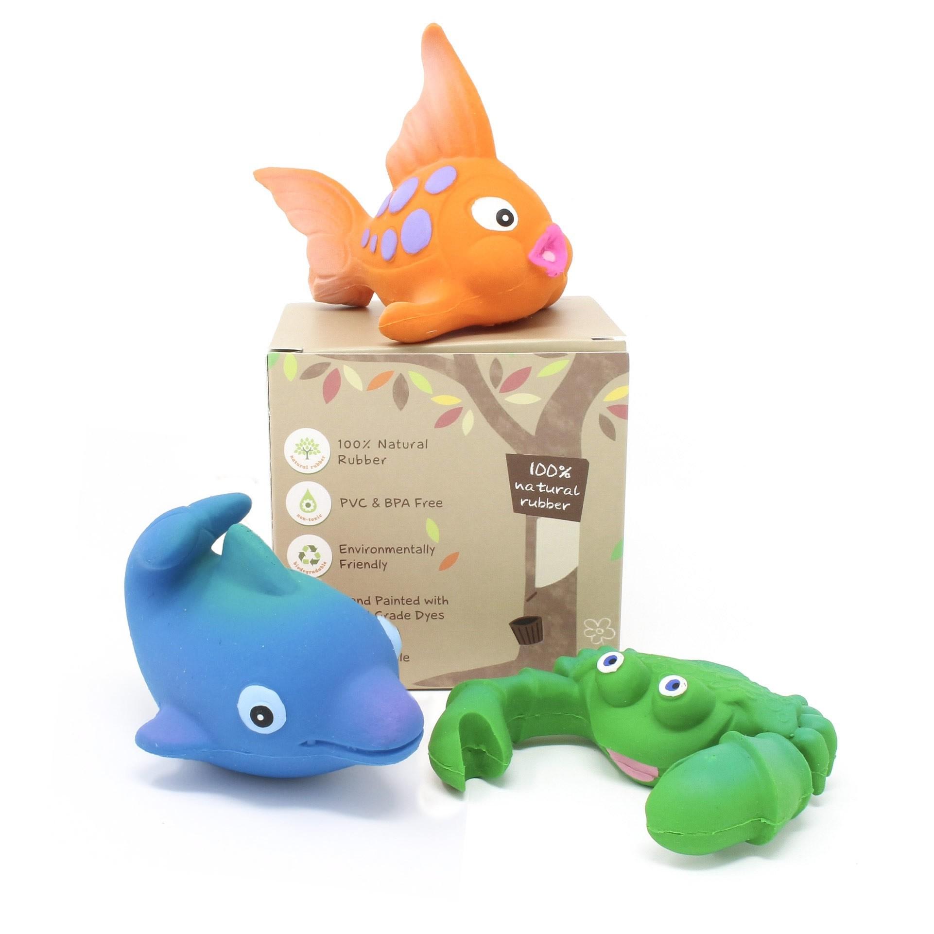 100% Natural Rubber Bath Toys, Ocean Play Set