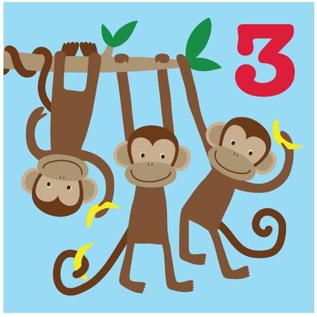 Toby Tiger Happy 3rd Birthday Card Monkey Card