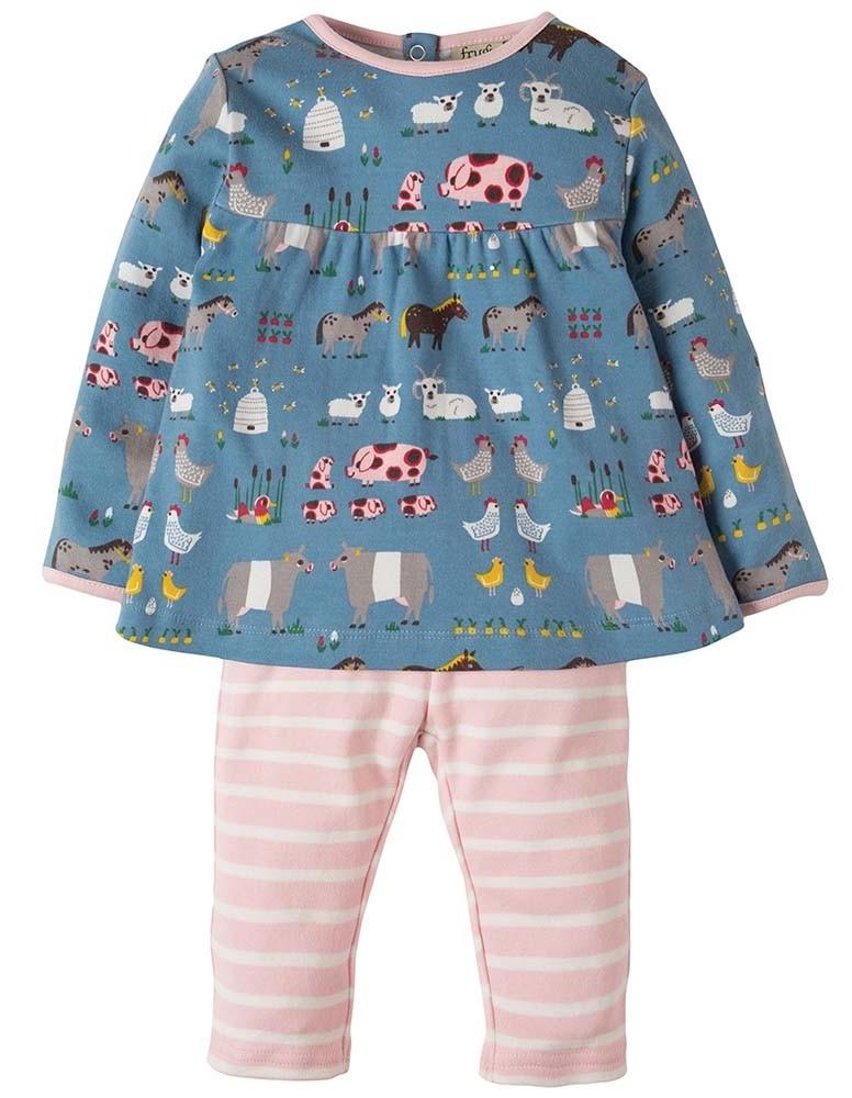 afbfd802d Frugi Blue Hay Days Sally Dress Set