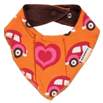 Maxomorra Orange Car Dribble Bib