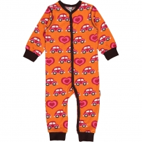 Maxomorra Orange Car LS Romper