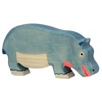 Holztiger Feeding Hippopotamus