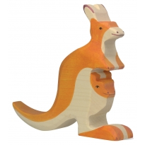 Holztiger Kangaroo With Baby