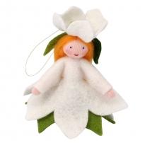 Ambrosius Christmas Rose Fairy Hanging Decoration White Skin