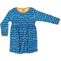 DUNS Blue Sailing Boats LS Gathered Dress