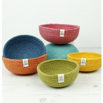ReSpiin Jute Multicoloured Mini Bowl Set