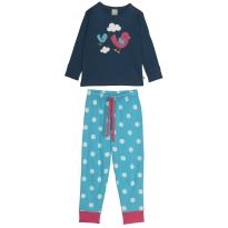 Frugi Lizzie Long John PJs - Deep Atlantic/Birdie