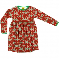 DUNS Adult Dark Green Poinsettia LS Gathered Dress