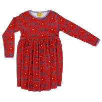DUNS Adult Wine Poinsettia LS Gathered Dress