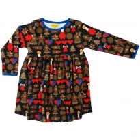 DUNS Adult Black Gingerbread LS Gathered Dress