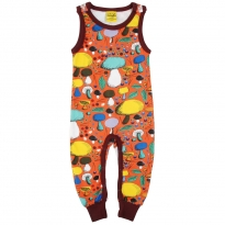 DUNS Dark Orange Mushroom Forest Dungarees